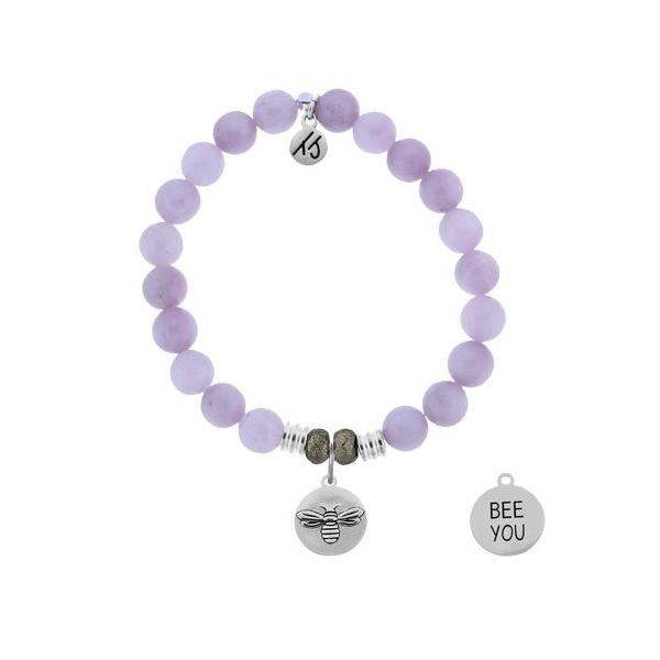 T. Jazelle Kunzite 8Mm Beaded Bracelet With Sterling Silver Bee You Charm. Swede's Jewelers East Windsor, CT