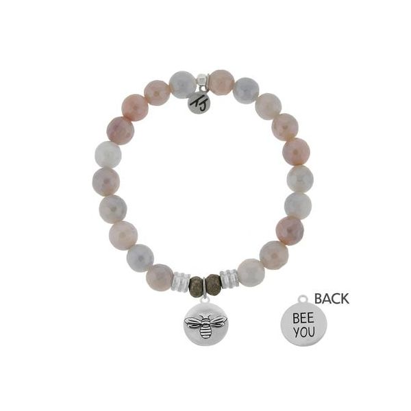 T. Jazelle Sunstone 8Mm Beaded Bracelet With Sterling Silver Bee You Charm. Swede's Jewelers East Windsor, CT