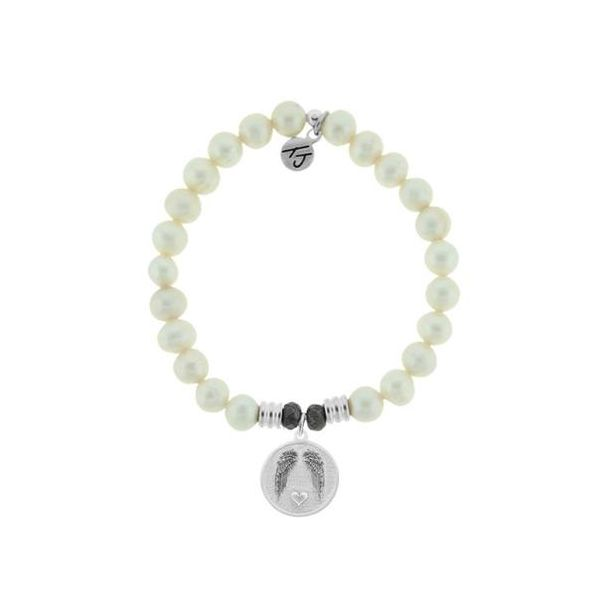 Tjazelle 8Mm Core Beaded White Pearl Bracelet With Sterling Silver Guardian Charm. Swede's Jewelers East Windsor, CT