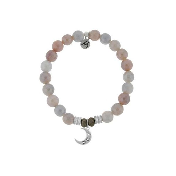 T.Jazelle Sunstone Faceted 8Mm Core Stacker Beaded Bracelet With Sterling Silver Friendship Stars Charm. Swede's Jewelers East Windsor, CT