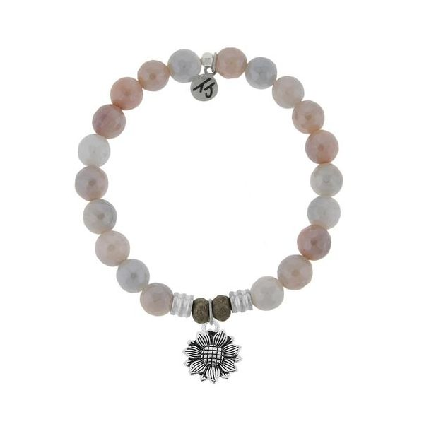 T.Jazelle Sunstone Faceted 8Mm Core Stacker Beaded Bracelet With Sterling Silver Sunflower Charm. Swede's Jewelers East Windsor, CT