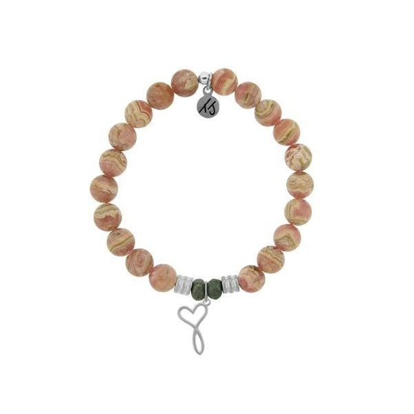 T.Jazelle Rhodochrosite 8Mm Beaded Bracelet With Sterling Silver Infinite Heart Charm. Swede's Jewelers East Windsor, CT
