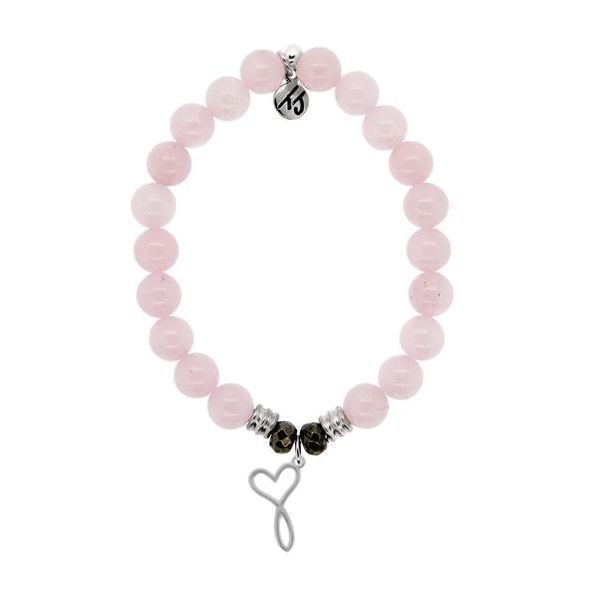 T.Jazelle Rose Quartz 8mm Core Stacker Beaded Bracelet With Sterling Silver Infinite Love Charm. Swede's Jewelers East Windsor, CT