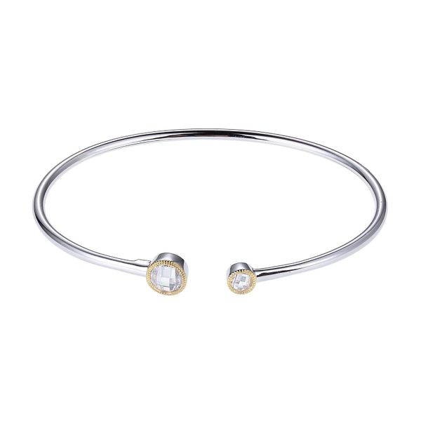 Elle Sterling Silver & 14K Yellow Gold CZ Cuff Bracelet Swede's Jewelers East Windsor, CT