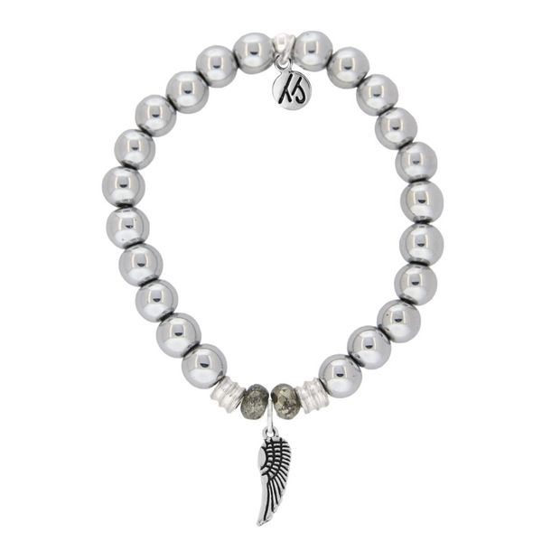 Sterling SilverBracelet White Pearl With Sterling Silver Angel Wing Charm. Swede's Jewelers East Windsor, CT