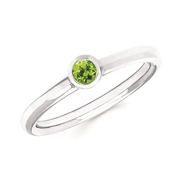 Sterling Silver Stackable Peridot Bezel Set Ring Size 6.5 Swede's Jewelers East Windsor, CT
