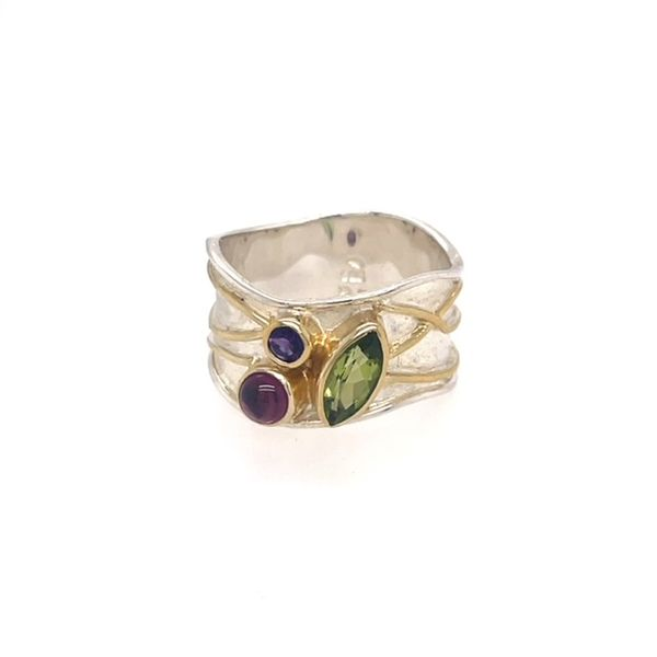 Michou Sterling Silver/22K Vermeil with Peridot, Rhodolite Garnet & African Amethyst Ring Swede's Jewelers East Windsor, CT