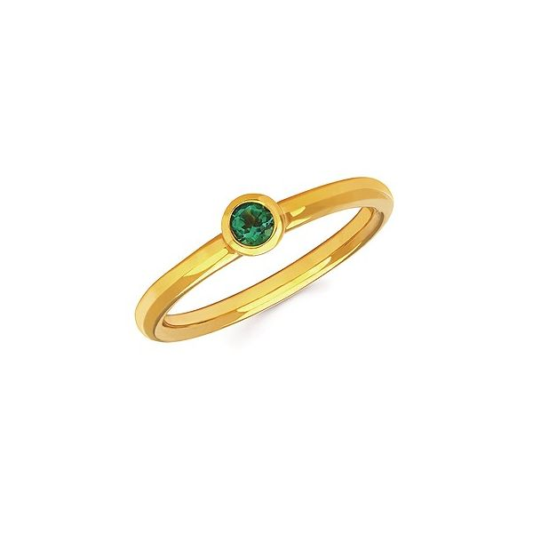 Sterling Silver Stackable Emerald Bezel Set Ring Size 6.5 (Shown in yellow gold) Swede's Jewelers East Windsor, CT