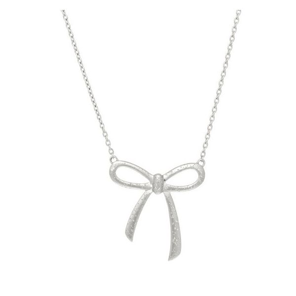 Royal ChainSterling Silver Rhodium Plated Ribbon Style Necklace With 18