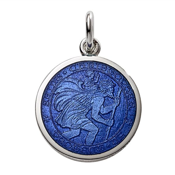 Sterling Silver Enamel Royal Blue St. Christopher Charm/Medal Swede's Jewelers East Windsor, CT