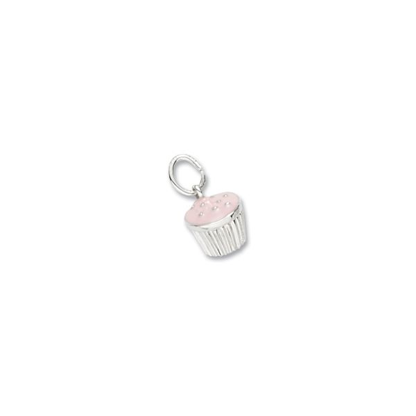 Sterling Silver Cupcake Pink charm Swede's Jewelers East Windsor, CT