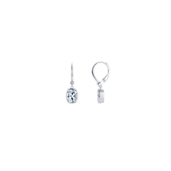 Lafonn Sterling Silver Dangle 4.86TW CZ Bezel Set Cushion Lever Back Dangle Earrings Swede's Jewelers East Windsor, CT