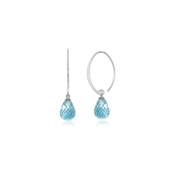 Sterling Silver Simple Sweep Dangle Briolette Blue Topaz Earrings Swede's Jewelers East Windsor, CT