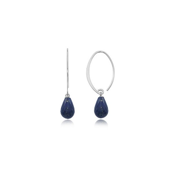 Sterling Silver Simple Sweep Briolette Lapis Dangle Earrings Swede's Jewelers East Windsor, CT
