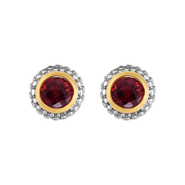 18kt+Silver Yellow+Rhodium Finish 8.8mm Shiny Round Post Earring with Push Back Clasp+1.0000ct 5mm Round Briolette Garnet Swede's Jewelers East Windsor, CT
