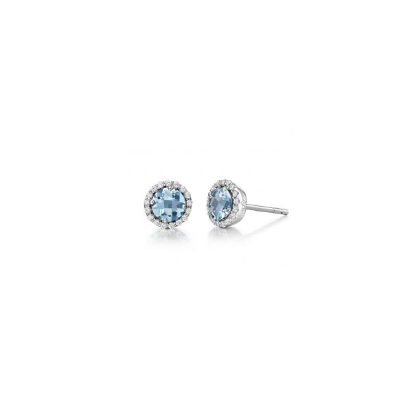 LaFonn Sterling Silver with Simiulated Aquamarine & Simulated Diamond Earrings Swede's Jewelers East Windsor, CT