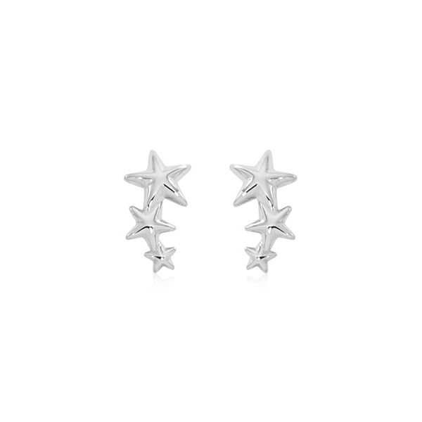 Sterling Silver Triple Star Earrings Swede's Jewelers East Windsor, CT