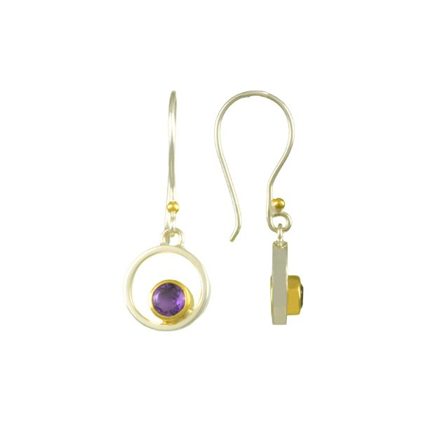 Michou Sterling Silver/22K Vermeil with African Amethyst Wire Drop Earrings Swede's Jewelers East Windsor, CT
