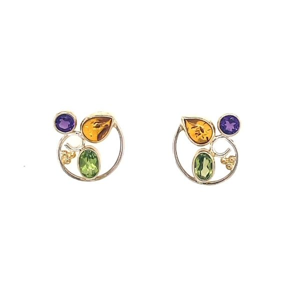 Michou Sterling Silver & 22K Vermeil with Amber, Peridot & Afican Amethyst Cluster Earrings Swede's Jewelers East Windsor, CT