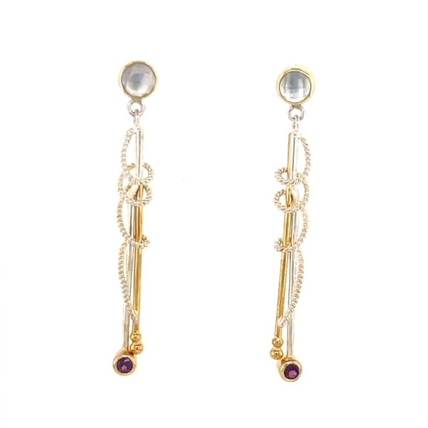 Michou Sterling Silver & 22K Yellow Gold Vermeil Long Dangle Earrings with Quarts & Mother of Pearl & Rhodolite Garnet Swede's Jewelers East Windsor, CT