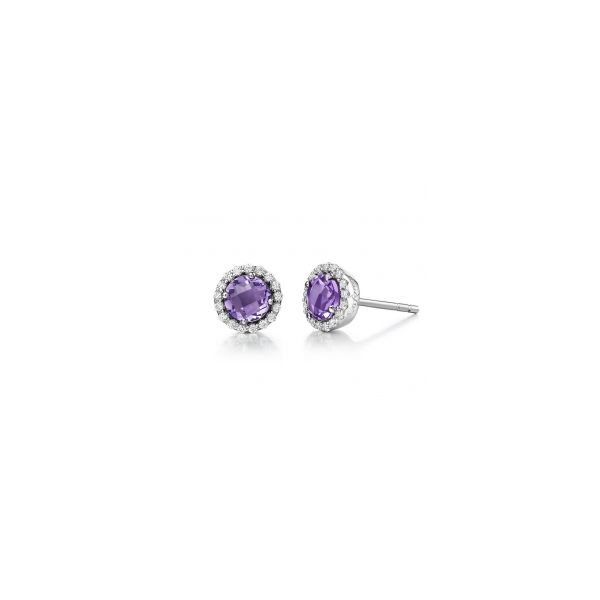 Lafonn Sterling Silver With Amethyst & Simulated Diamond Stud Earrings Swede's Jewelers East Windsor, CT