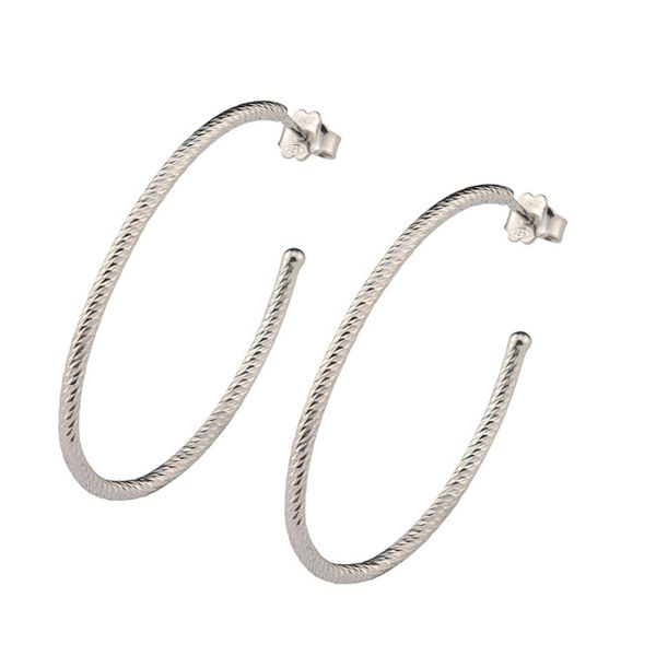 Frederic Duclos Sterling Silver Diamond Cut Large Oval Hoop Earrings Swede's Jewelers East Windsor, CT