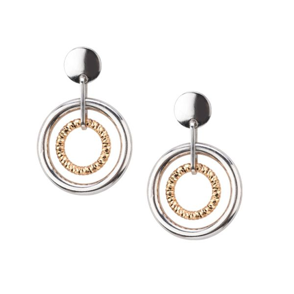 Frederic Duclos Sterling Silver & Yellow Gold PlatedDiamond Cut Double Circle Dangle Earrings Swede's Jewelers East Windsor, CT