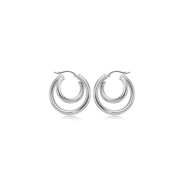 Carla Sterling Silver Small Medium Tube Hoop Earrings Swede's Jewelers East Windsor, CT