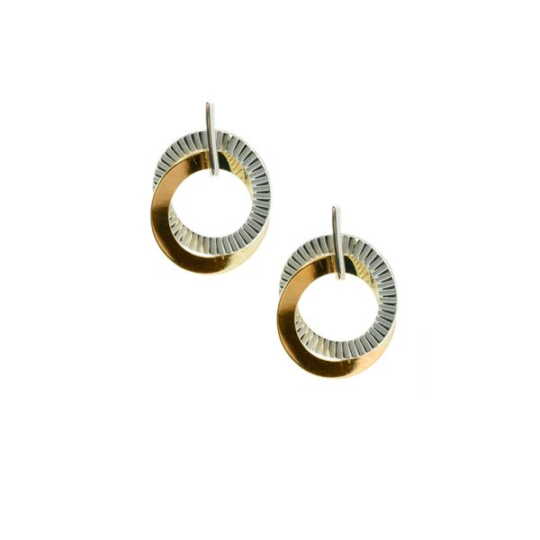 Frederic Duclos Sterling Silver & Yellow Gold Plated Double Circle Earrings Swede's Jewelers East Windsor, CT