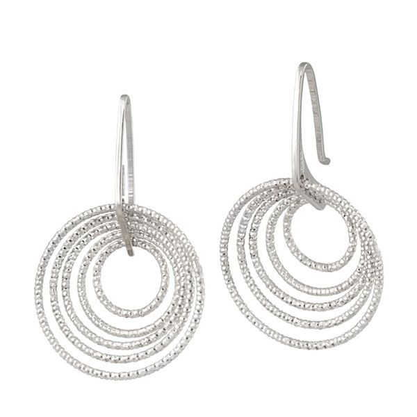 Frederic Duclos Sterling Silver Diamond Cut Circle Dangle Earrings Swede's Jewelers East Windsor, CT