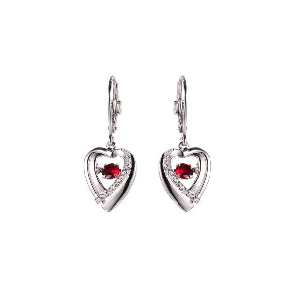 Sterling Silver And Cz Leverback Dangle Heart Earring With 4Mm Floating Synthetic Red Ruby. Swede's Jewelers East Windsor, CT