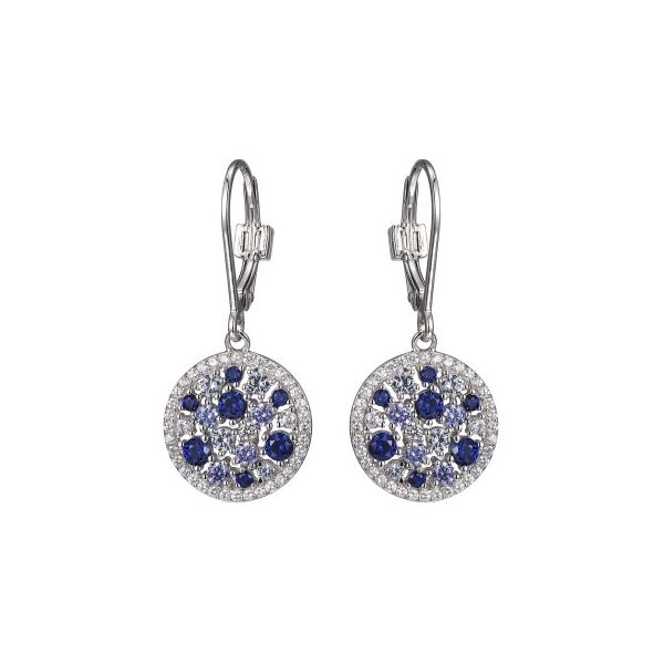 Elle Sterling Silver Dangle Earring With Synthetic Tanzanite And Cz. Swede's Jewelers East Windsor, CT
