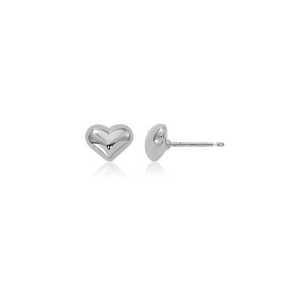 Sterling Silver Puffed Heart Stud Earrings. Swede's Jewelers East Windsor, CT