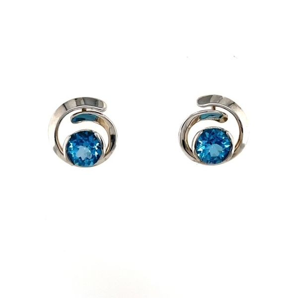 Tom Kruskal Hand Crafted Sterling Silver Overlap Curl Earrings With 7Mm Blue Topaz (Shown In Picture With Amethyst). Swede's Jewelers East Windsor, CT