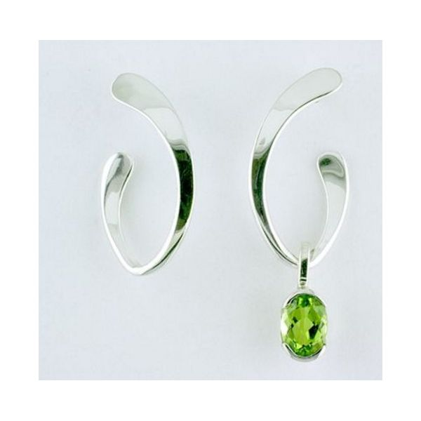 Tom Kruskal Designs Silver Drop Earrings Oval Hoop (price does not include peridot dangle shown in picture) Swede's Jewelers East Windsor, CT