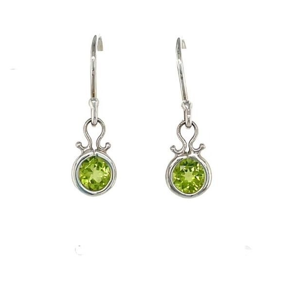 Tom Kruskal Hand Crafted Sterling Silver 5mm Round Peridot Dangle Earrings. (shown in picture with Amethyst) Swede's Jewelers East Windsor, CT