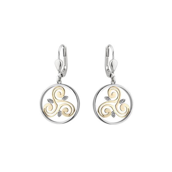 Sterling Silver And 10Kt Yellow Gold Round Spiral Drop Earrings With Diamonds. Swede's Jewelers East Windsor, CT