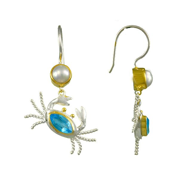 Michou Sterling Silver & 22K Vermeil Baby Blue Topaz & White Freshwater Pearl Crab Earrings Swede's Jewelers East Windsor, CT