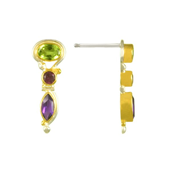 Michou Sterling Silver &n 14k Vermeil Peridot, Rhodolite Garnet & Aferican Amethyst Drop Earrings Swede's Jewelers East Windsor, CT