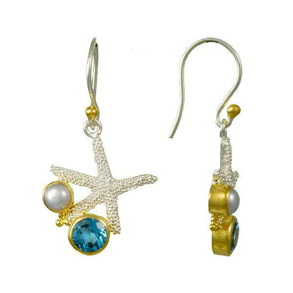 Michou Sterling Silver & 14K Vermeil Sky Blue Topaz & White Freshwater Pearl Star Fish Earrings Swede's Jewelers East Windsor, CT