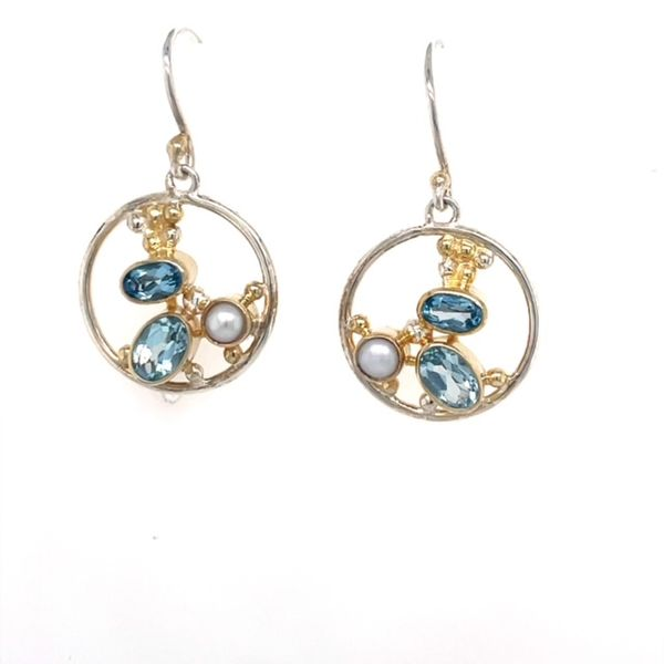 Michou Sterling Silver &n 22K Vermeil with White Freshwater Pearl, Sky Blue Topaz & Baby Blue Topaz Dangle Earrings Swede's Jewelers East Windsor, CT