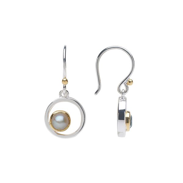 Michou Sterling Silver & 22K Vermeil Dangle Earrings with Pearl Swede's Jewelers East Windsor, CT