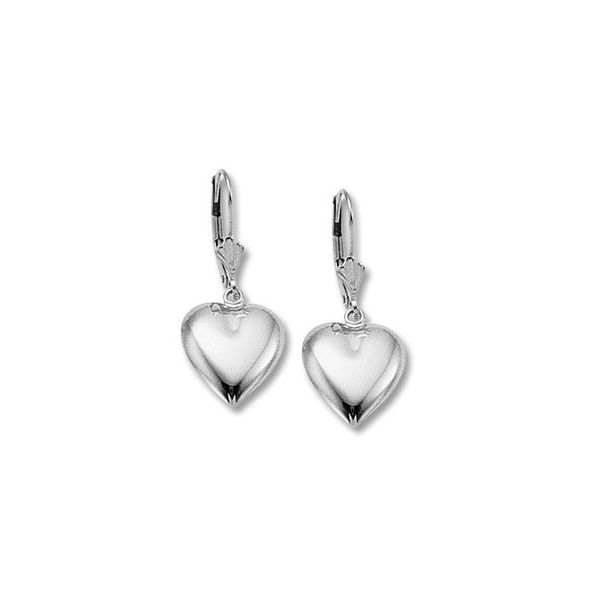 Sterling Silver Heart Lever Back Earrings Swede's Jewelers East Windsor, CT