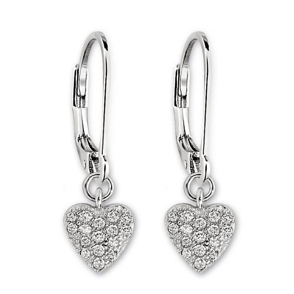 Elle Sterling Silver Dangle Earrings Heart with CZ Swede's Jewelers East Windsor, CT