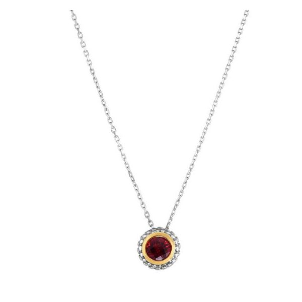 18kt+Silver Yellow+Rhodium Finish 8.7mm Shiny Round Fancy Pendant Slide +0.5000ct 5mm Round Garnet on Sterling Silver 18