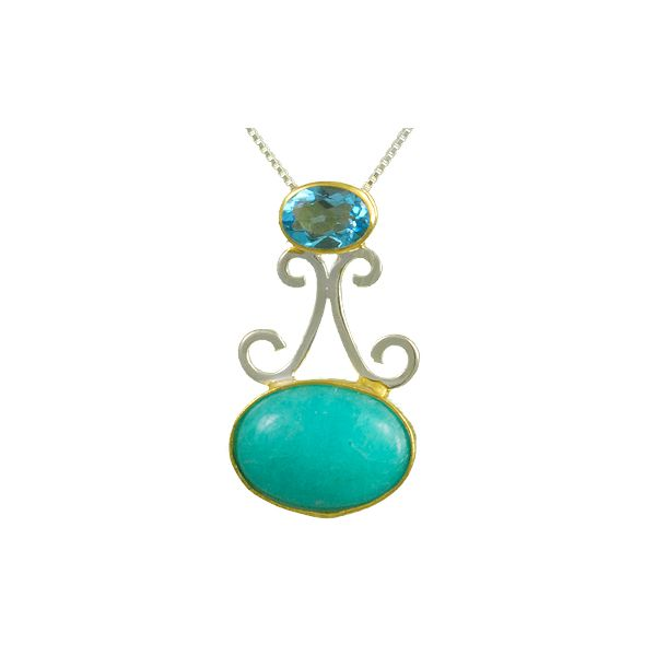 Michou Sterling Silver with 22K Vermeil with Amazonite & Baby Blue Topaz Pendant on 18