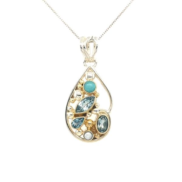 Michou Sterling Silver/22K Vermeil with Sky Blue Topaz, Amazonite, Baby Blue Topaz & White Freshwater Pearl on 18