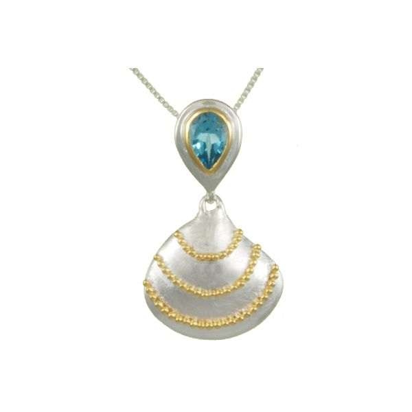 Michou Sterling Silver & 22K Vermeil Scallop Shell with Baby Blue Topaz on 18
