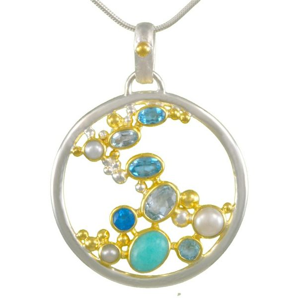 Michou Sterling Silver & 22K Vermeil with White Freshwater Pearl, Teal Topaz, Baby Blue Topaz & Sky Blue Topaz Circle Pendant on Swede's Jewelers East Windsor, CT