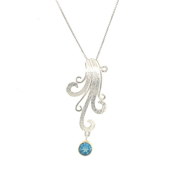 Michou Sterling Silver &n 22K Vermeil with Baby Blue Topaz Pendant on 18